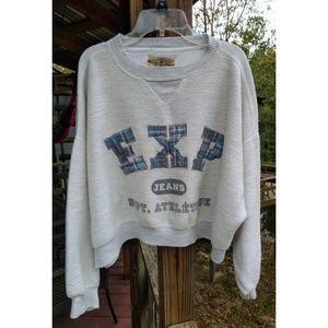 Express EXP Plaid Fleece Oversized Sweatshirt Top